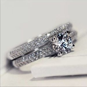 2pcs 925 sterling silver cz cubic zirconia ring